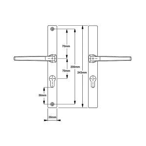 Hoppe Frankfurt Lever Lever 70mm Unsprung Door Handle diagram