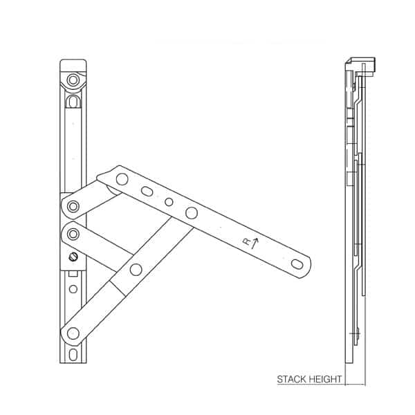 Mila iDeal Friction Hinge Technical Drawing