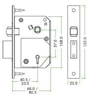 Specs ZOO British Standard 5 Lever Chubb Retro-Fit Roller Sash Lock