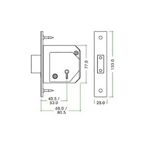 ZOO Hardware 5 Lever Chubb Retro-Fit Dead Lock dimensions