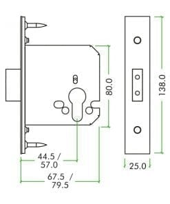 ZOO Hardware Euro Dead Lock 79.5mm diagram