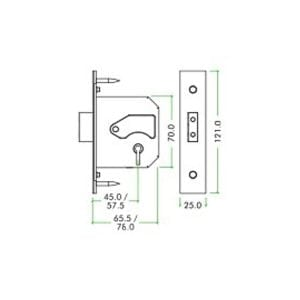 Zoo Hardware 3 Lever 76mm Replacement Deadlock dimension