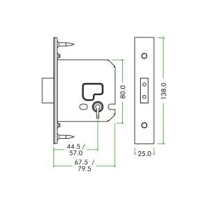 Zoo Hardware 3 Lever Deadlock dimensions