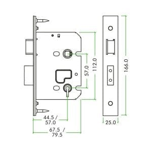 Zoo Hardware 3 Lever Sashlock diagram