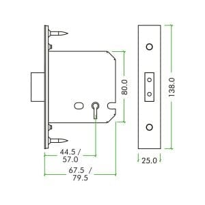 Zoo Hardware 5 Lever Deadlock dimensions
