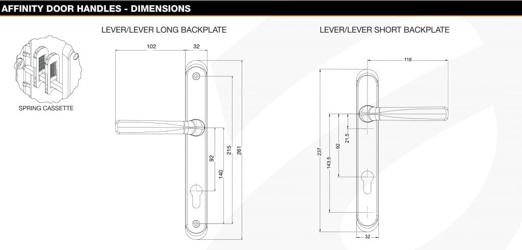 Avocet Affinity Door handle dimensions