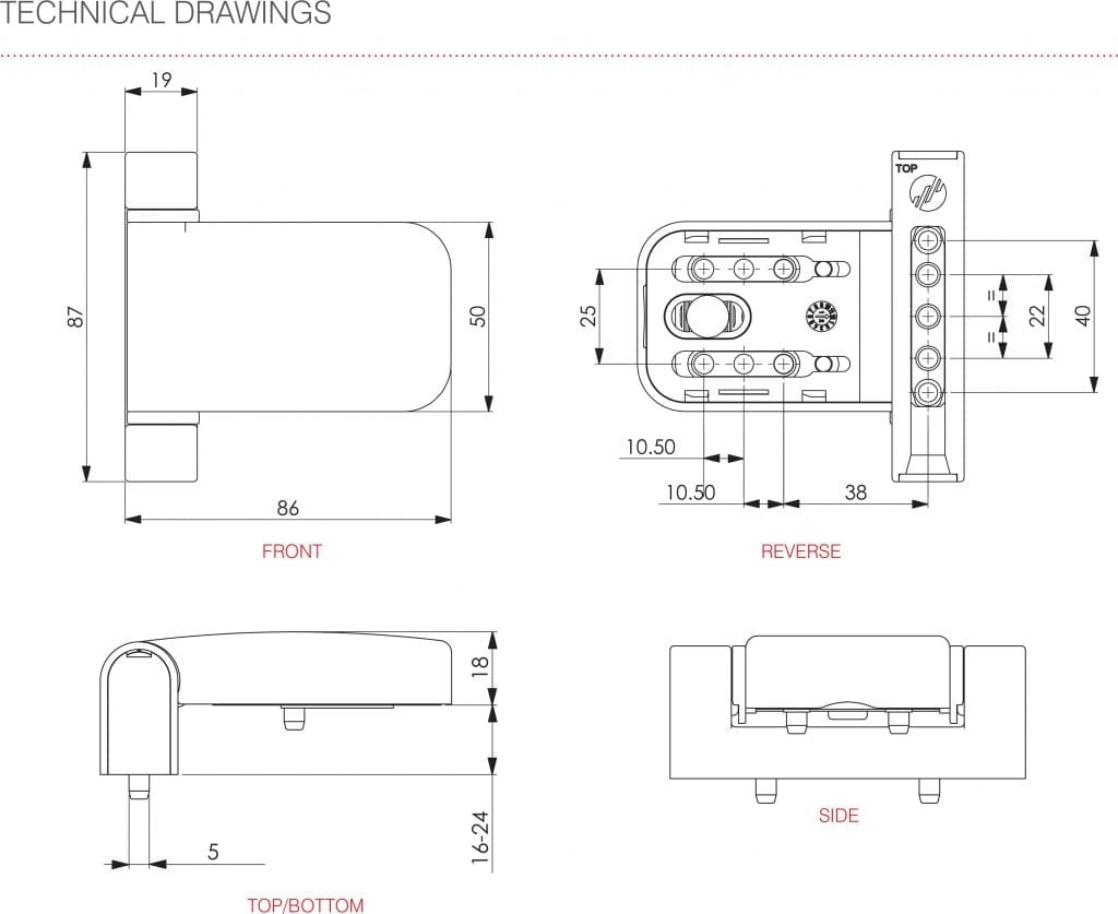 Mila ProSecure Door Hinge technical drawings