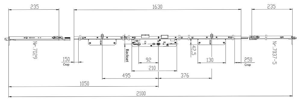 KFV AS7370 2 Pin Latch & Deadbolt dimensions