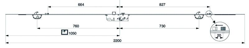 Maco CT-S 2 Hook 2 Roller Centre Latch & Deadbolt dimensions