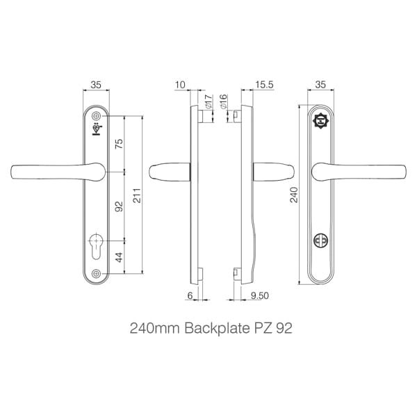 Mila ProSecure 92mm Door Handle long Backplate diagram