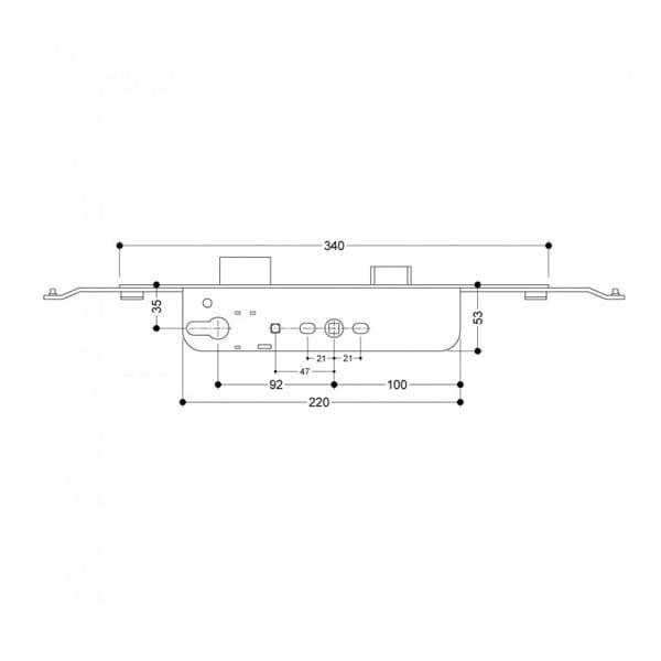 Roto MVD340 Deadbolt Centre Section diagram