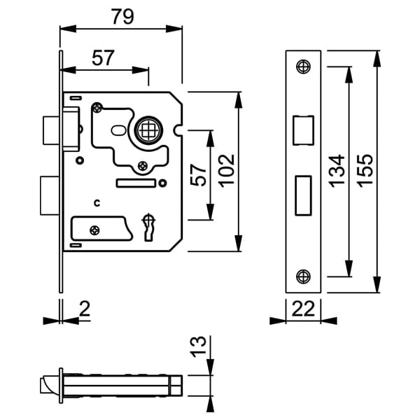 Hoppe Arrone 3 Lever 78.5mm Mortice Sashlock diagram