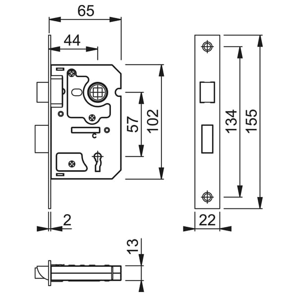 Hoppe Arrone 3 Lever Mortice Sashlock diagram