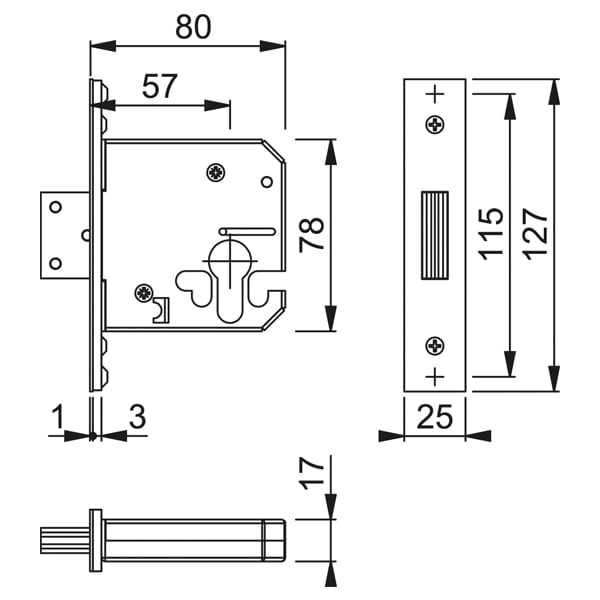 Hoppe Arrone BS 5 Lever Mortice Deadlock diagram