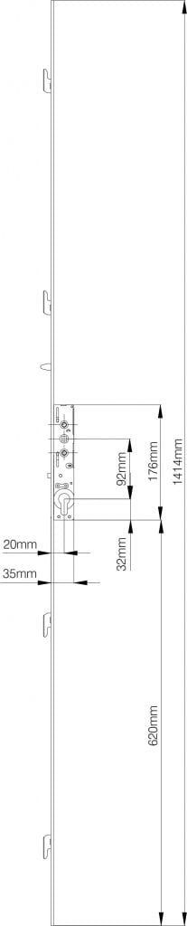 Mila Inline 4 Point Patio Door Lock technical drawing
