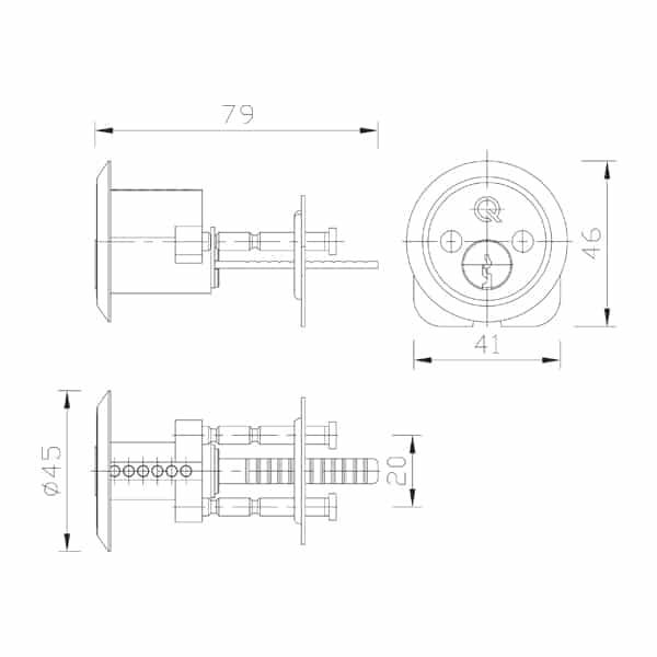 Greenteq Gamma Rim Latch Cylinder dimensions
