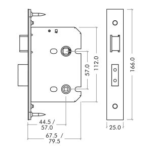 Zoo Hardware Mortice Bathroom Lock dimensions
