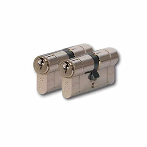 Greenteq Q Star Double Euro Cylinder Keyed Alike Pair Brass
