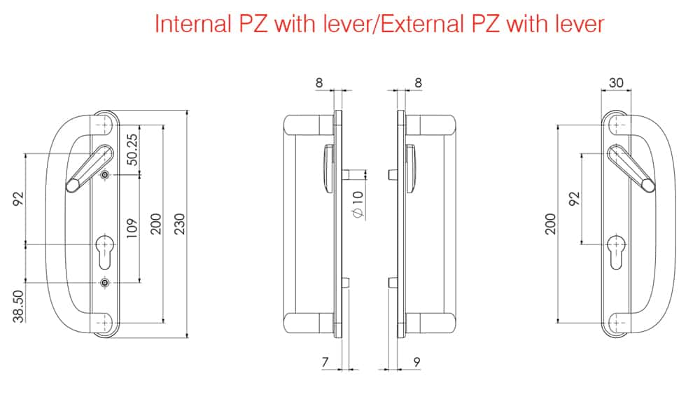 Mila Prolinea Patio Door Handle technical drawing