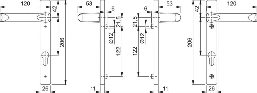 Hoppe London Door Handle 92mm hort Backplate Dimensions