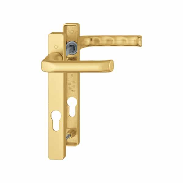 Hoppe London 92mm Door Handle Short Backplate Gold