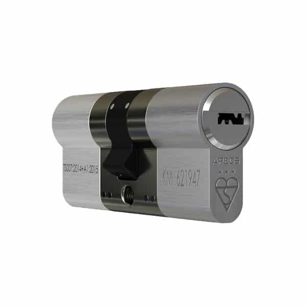 APECS AP 3 Star Double Euro Cylinder Satin