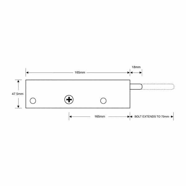 Asec Garage Door Lock dimensions