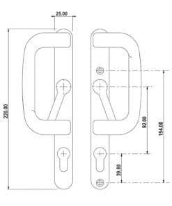 Sparta Patio Door Handle XL dimensions